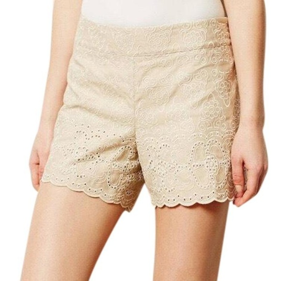 Anthropologie Pants - Anthropologie Elevenses Scalloped Eyelet Shorts